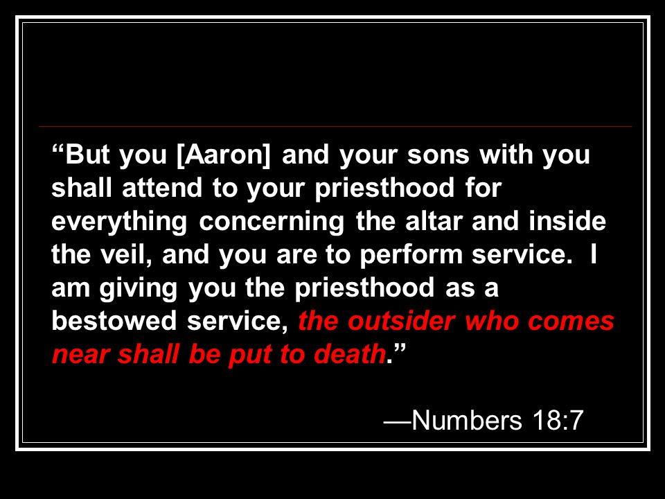 But you [Aaron] and your sons with you shall attend to your priesthood for everything concerning the altar and inside the veil, and you are to perform service. I am giving you the priesthood as a bestowed service, the outsider who comes near shall be put to death.
